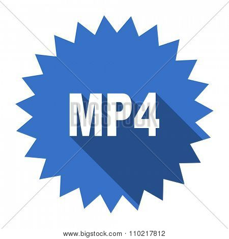 mp4 blue flat icon