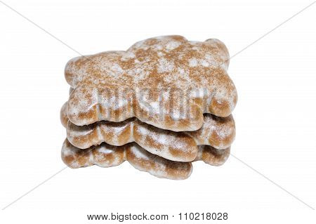 Ginger Bread In A Shape Of A Bears Isolated On White
