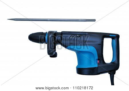 Professional Rotary Hammer With A Drill On White