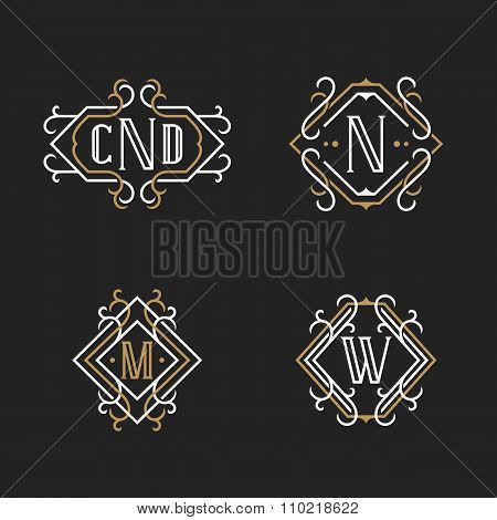 The set of stylish retro monogram emblem templates.
