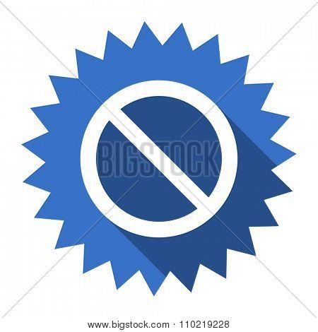 access denied blue flat icon