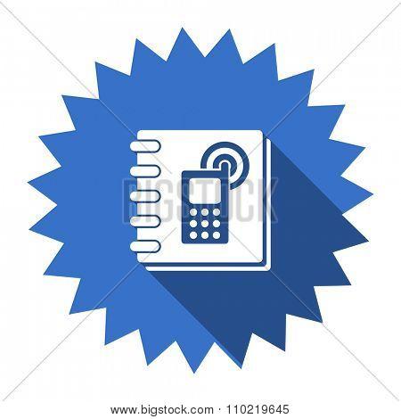 phonebook blue flat icon