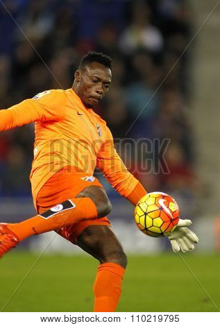 BARCELONA - NOV, 21: Carlos Kameni of Malaga CF during a Spanish League match against RCD Espanyol at the Power8 stadium on November 21 2015 in Barcelona Spain