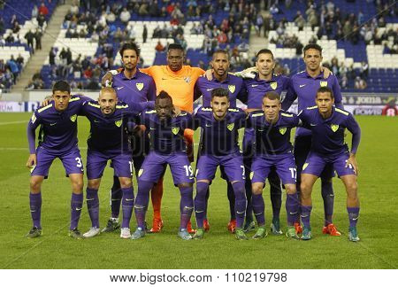 BARCELONA - NOV, 21: Malaga CF lineup posing before a Spanish League match against RCD Espanyol at the Power8 stadium on November 21 2015 in Barcelona Spain