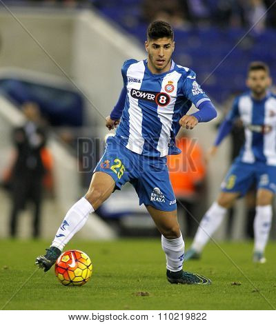 BARCELONA - NOV, 21: Marco Asensio of RCD Espanyol during a Spanish League match against Malaga CF at the Power8 stadium on November 21 2015 in Barcelona Spain