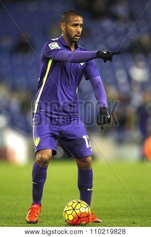 BARCELONA - NOV, 21: Fernando Damian Tissone of Malaga CF during a Spanish League match against RCD Espanyol at the Power8 stadium on November 21 2015 in Barcelona Spain