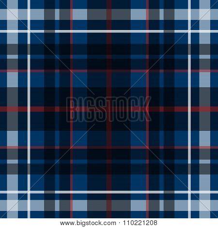 Vector seamless scottish tartan pattern in blue black and white