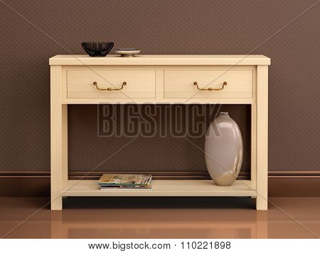 3D Illustration Of Bright Wooden Chest Of Drawers In Dark Interior