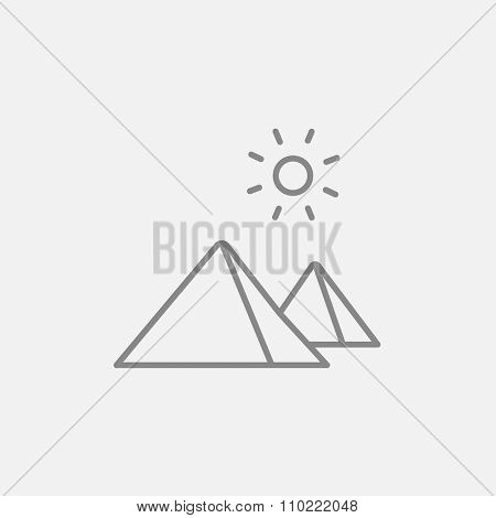 Egyptian pyramids line icon for web, mobile and infographics. Vector dark grey icon isolated on light grey background.