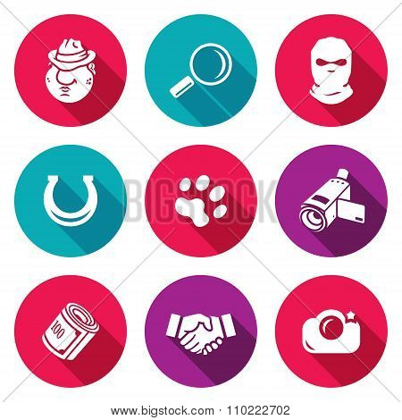Detective Icons Set. Vector Illustration.