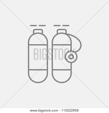 Oxygen tank line icon for web, mobile and infographics. Vector dark grey icon isolated on light grey background.