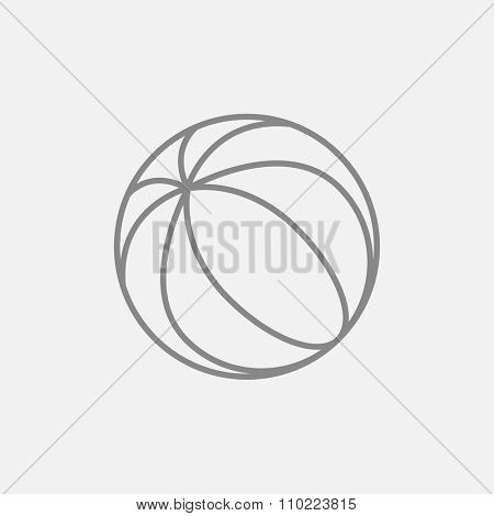 Beach ball line icon for web, mobile and infographics. Vector dark grey icon isolated on light grey background.