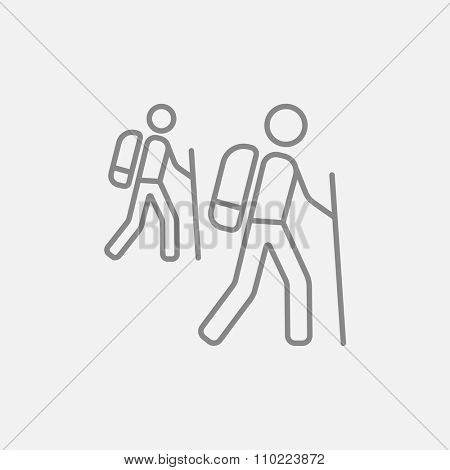 Tourist backpackers line icon for web, mobile and infographics. Vector dark grey icon isolated on light grey background.