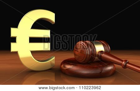 Euro And Law Symbol Cost Of Justice Concept