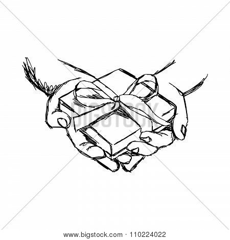 Illustration Vector Doodle Hand Drawn Of Sketch Hand Of Person Giving Or Receiving Gift Package, Iso