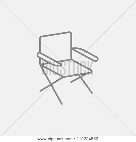 Folding chair line icon for web, mobile and infographics. Vector dark grey icon isolated on light grey background.