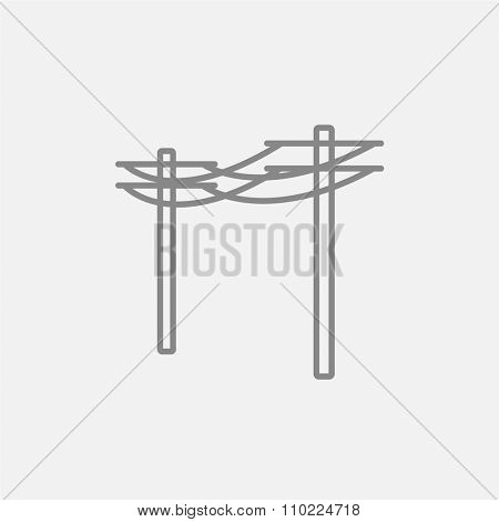 High voltage power lines line icon for web, mobile and infographics. Vector dark grey icon isolated on light grey background.