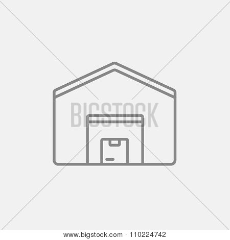 Warehouse line icon for web, mobile and infographics. Vector dark grey icon isolated on light grey background.