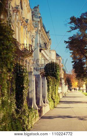Vintage street in european city