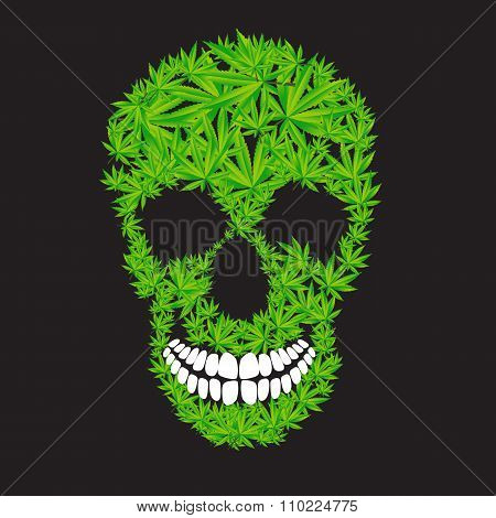 Abstract Cannabis Skull Vector Illustration