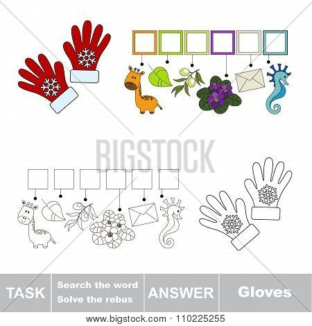 Vector game. Search the word. Find hidden word Gloves