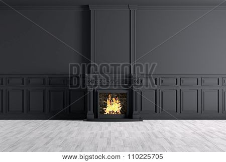 Empty Classic Interior Of A Room With Fireplace Over Black Wall 3D Rendering