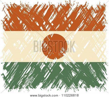 Niger grunge flag. Vector illustration.