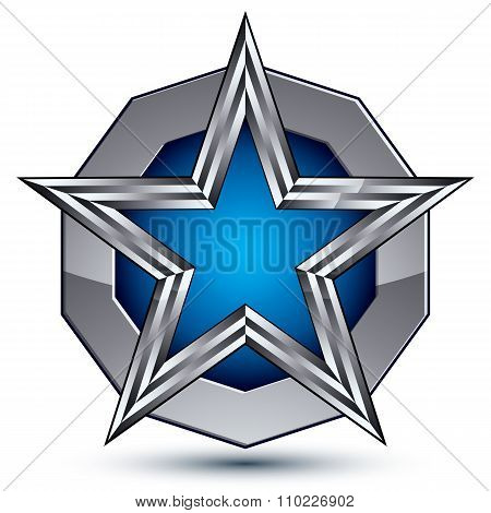 Celebrative Metallic Geometric Symbol, Stylized Pentagonal Blue Star Placed On A Round Silver Surfac