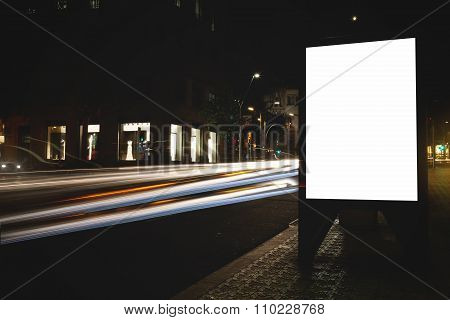 Empty advertising mock up banner on roadway