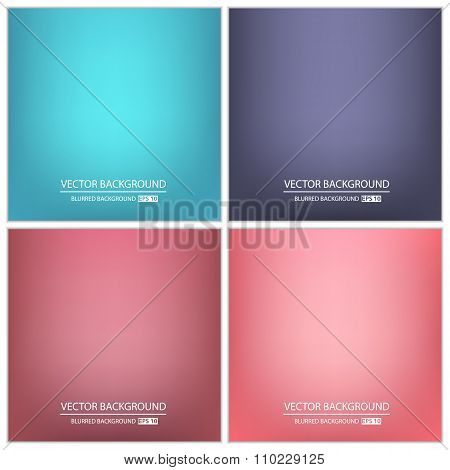 Abstract Creative concept vector multicolored blurred background set. For Web and Mobile Application