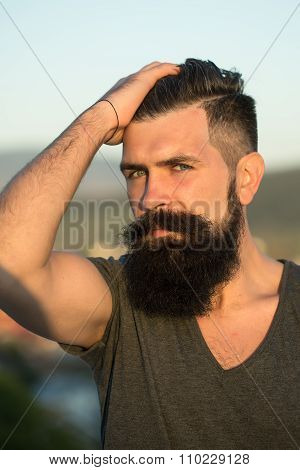 Handsome Man In Sunset