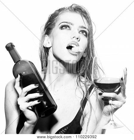 Woman With Wine Bottle And Glass