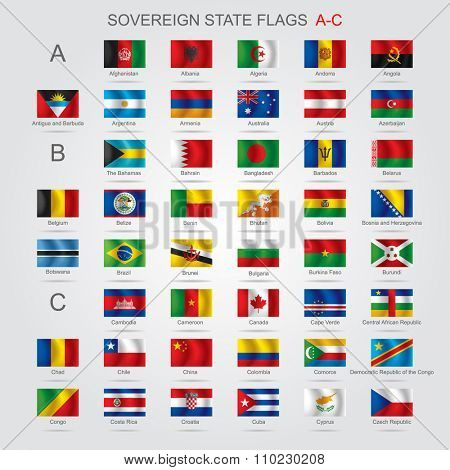 Set of world sovereign state and flags with captions in alphabet order.  Contains the Clipping Path of all flags
