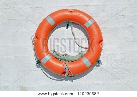 Life Buoy On Ferry Crossing The Mediterranean Sea To Santorini Island, Greece