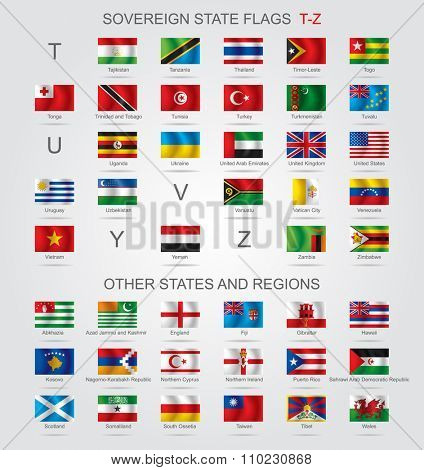 Set of world sovereign state and other flags with captions in alphabet order.  Contains the Clipping Path of all flags