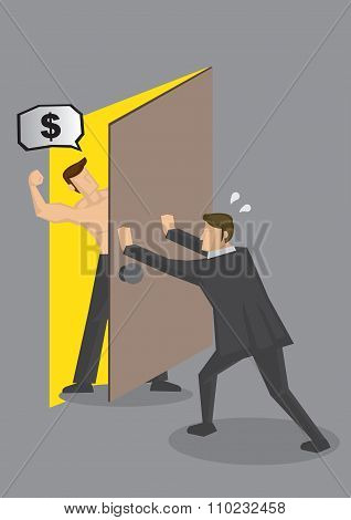 Businessman Hiding From Debt Collector Vector Illustration