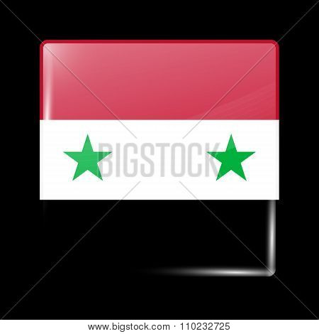 Flag Of Syria. Glassy Icon Square Shape