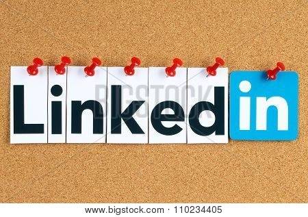 Linkedin logo sign printed on paper