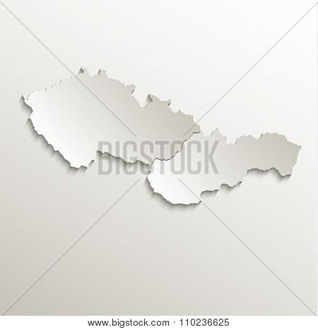 Czech Slovakia map card paper 3D natural raster Czechoslovakia separate maps