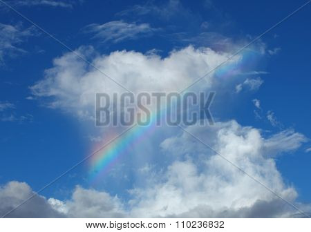 Colorful Rainbow Against White Cloud And Bright Blue Sky
