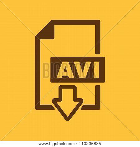 The AVI icon. Video file format symbol. Flat