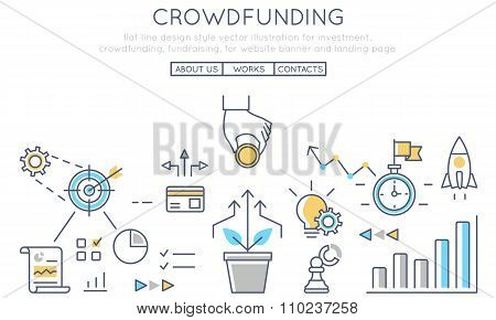 Flat Line Design Style Vector Illustration For Investment, Crowdfunding, Fundraising