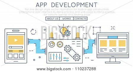 Flat Line Design Style Vector Illustration For Mobile App Construction