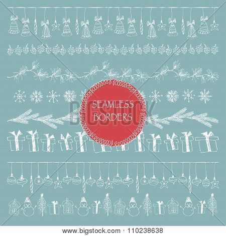 Hand Drawn Christmas Doodle Lineart Borders And Pattern Brushes