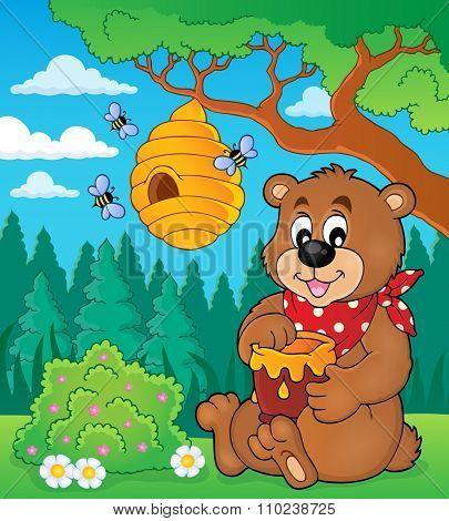 Bear with honey theme image 2 - eps10 vector illustration.