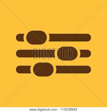 The adjustment icon. Settings symbol. Flat