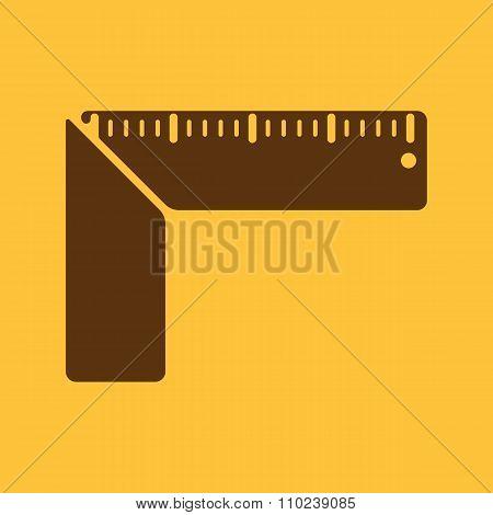 The setsquare icon. Building square symbol. Flat