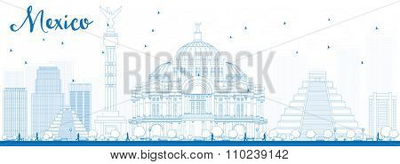 Outline Mexico skyline with blue landmarks. Business travel and tourism concept with historic buildings. Image for presentation, banner, placard and web site.