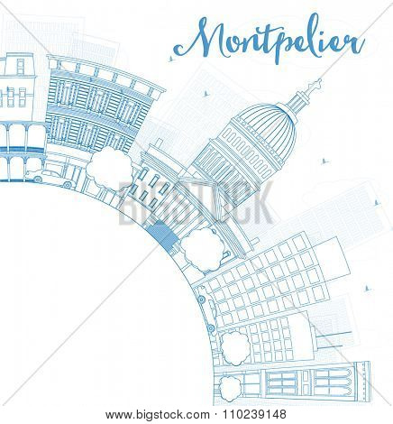 Outline Montpelier (Vermont) city skyline with blue buildings and copy space. Business travel and tourism concept with place for text. Image for presentation, banner, placard.