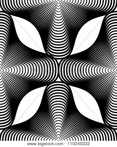 Continuous Vector Pattern With Black Graphic Lines, Decorative Abstract Background With Geometric Fi
